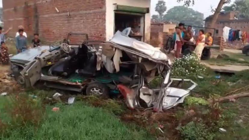 नवादा में तेज रफ्तार हाइवा ने बोलेरो में मारी टक्कर, 3 की मौत 5 घायल