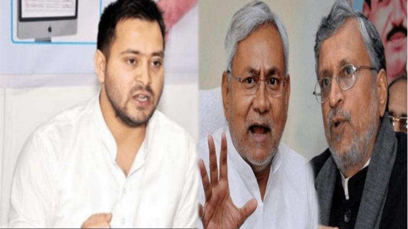 तेजस्वी ने सुशील मोदी और CM के खिलाफ खोला मोर्चा, कहा- नीतीश जी संघ की गोद में लेटे दूध पी रहे हैं