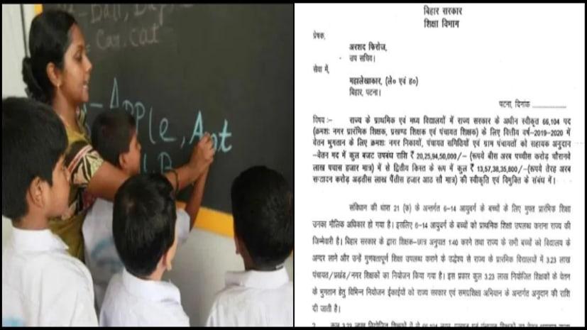 बिहार के प्राइमरी और मिडिल स्कूलों में नियोजित शिक्षकों के लिए खुशखबरी, सरकार ने वेतन भुगतान के लिए जारी की राशि
