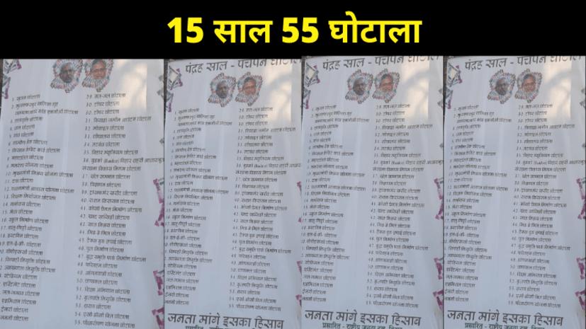 RJD ने पटना की सड़कों पर फिर की पोस्टबाजी, घोटालों की लिस्ट देकर पूछा जनता इसका हिसाब मांग रही है