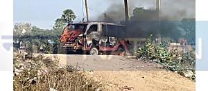 नवादा में स्कूल गाड़ी में लगी आग, टल गया बड़ा हादसा