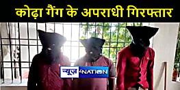औरंगाबाद पुलिस को मिली सफलता, कोढ़ा गैंग के तीन अपराधियों को किया गिरफ्तार