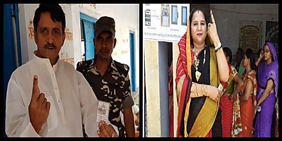 एलजेपी नेता सुनील पांडेय ने अपनी पत्नी के साथ डाला वोट, एनडीए की जीत का किया दावा