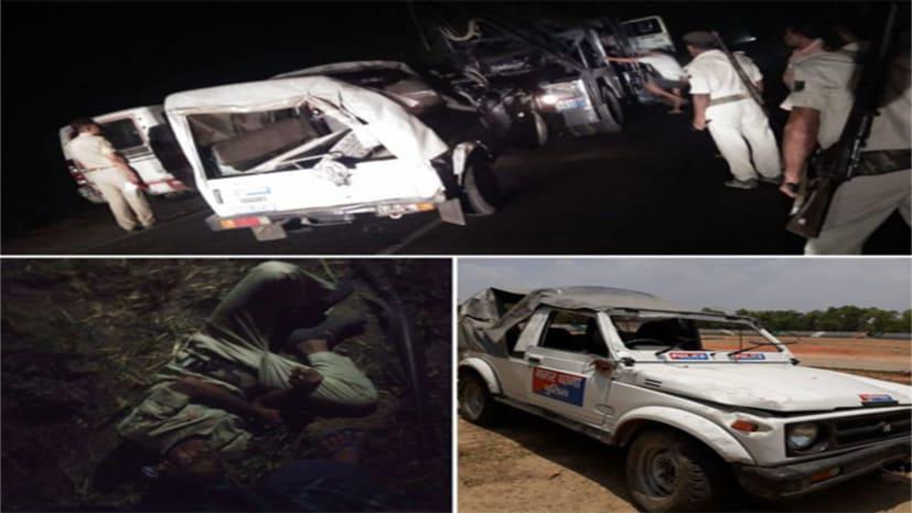 अपराधी को पकड़ने जा रही रही पुलिस जीप को अज्ञात वाहन ने मारी टक्कर, 5 पुलिसकर्मी घायल
