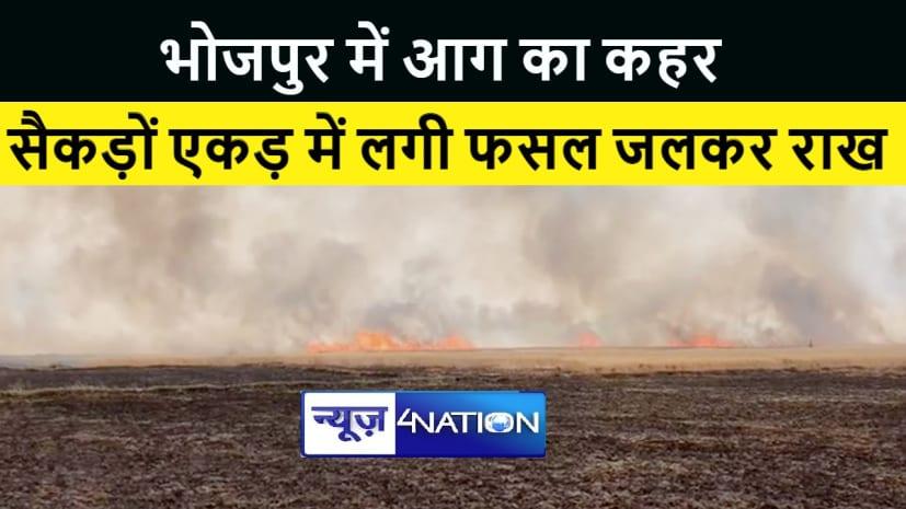 भोजपुर के कई गांवों में आग का कहर, सैंकड़ों एकड़ में लगी गेंहूँ की फसल जलकर हुई राख