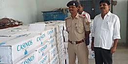 मोतिहारी के पकड़ीदयाल में पकड़ी गयी शराब की बड़ी खेप, ट्रक समेत 280 कार्टन शराब जब्त