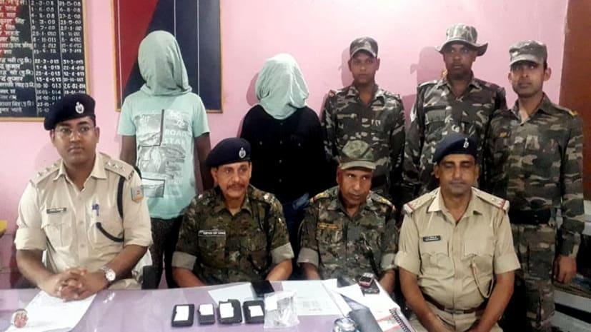 गढ़वा पुलिस ने लिया गैस एजेंसी लूटकांड का उद्भेदन, हथियार के साथ दो को किया गिरफ्तार