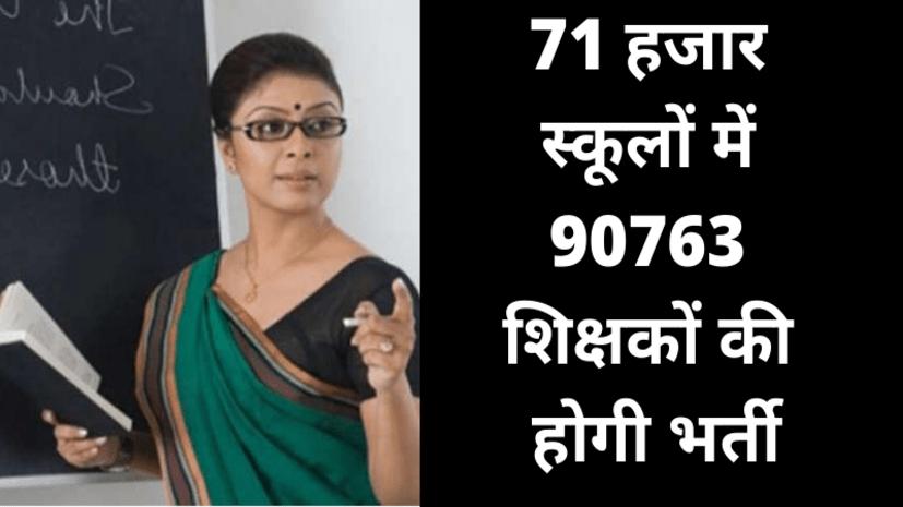71 हजार स्कूलों में 90763 शिक्षकों की भर्ती प्रक्रिया जल्द ही शुरू, सरकार के इस फैसले से बन गयी बात