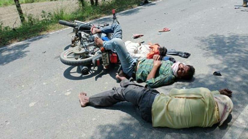 सिवान में बड़ा सड़क हादसा : ट्रक ने बाइक सवार को रौंदा, एक की मौत 2 गंभीर रुप से घायल