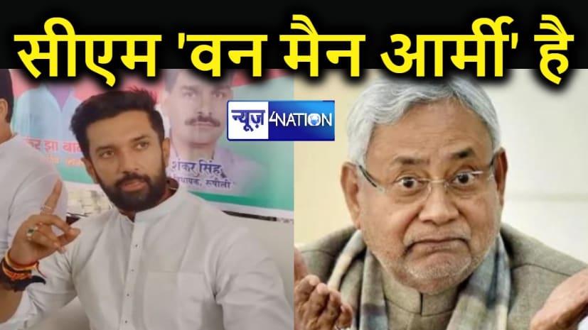 चिराग ने सीएम नीतीश पर बोला हमला, कहा- वे वन मैन आर्मी है... मंत्री-विधायक से नहीं लेते राय, कुछ अपने पंसदीदे अधिकारियों के साथ मिलकर चला रहे हैं बिहार