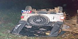 पेट्रोलिंग पर निकली पुलिस की जीप पलटी, 5 पुलिसकर्मी घायल