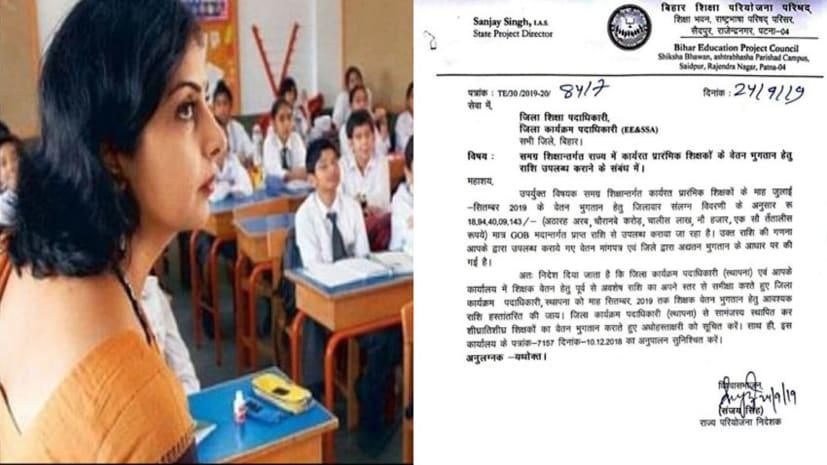 बिहार के शिक्षकों  को लिए बड़ी खुशखबरी, 3 महीने का एक साथ मिलेगा वेतन, शिक्षा विभाग ने जारी की राशि