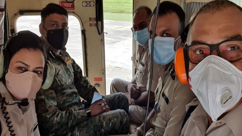 चुनाव के दौरान दियारा इलाकों में पुलिस की होगी पैनी नजर, सुरक्षा को लेकर पुलिस अधिकारियों ने किया हवाई सर्वेक्षण