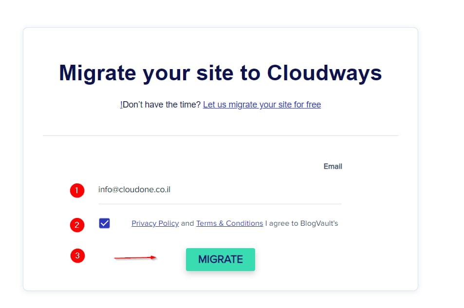 הזנת פרטים תוסף Cloudways