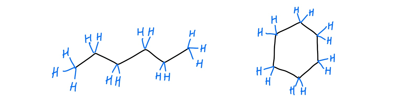 hexane (left) and cyclohexane (right)