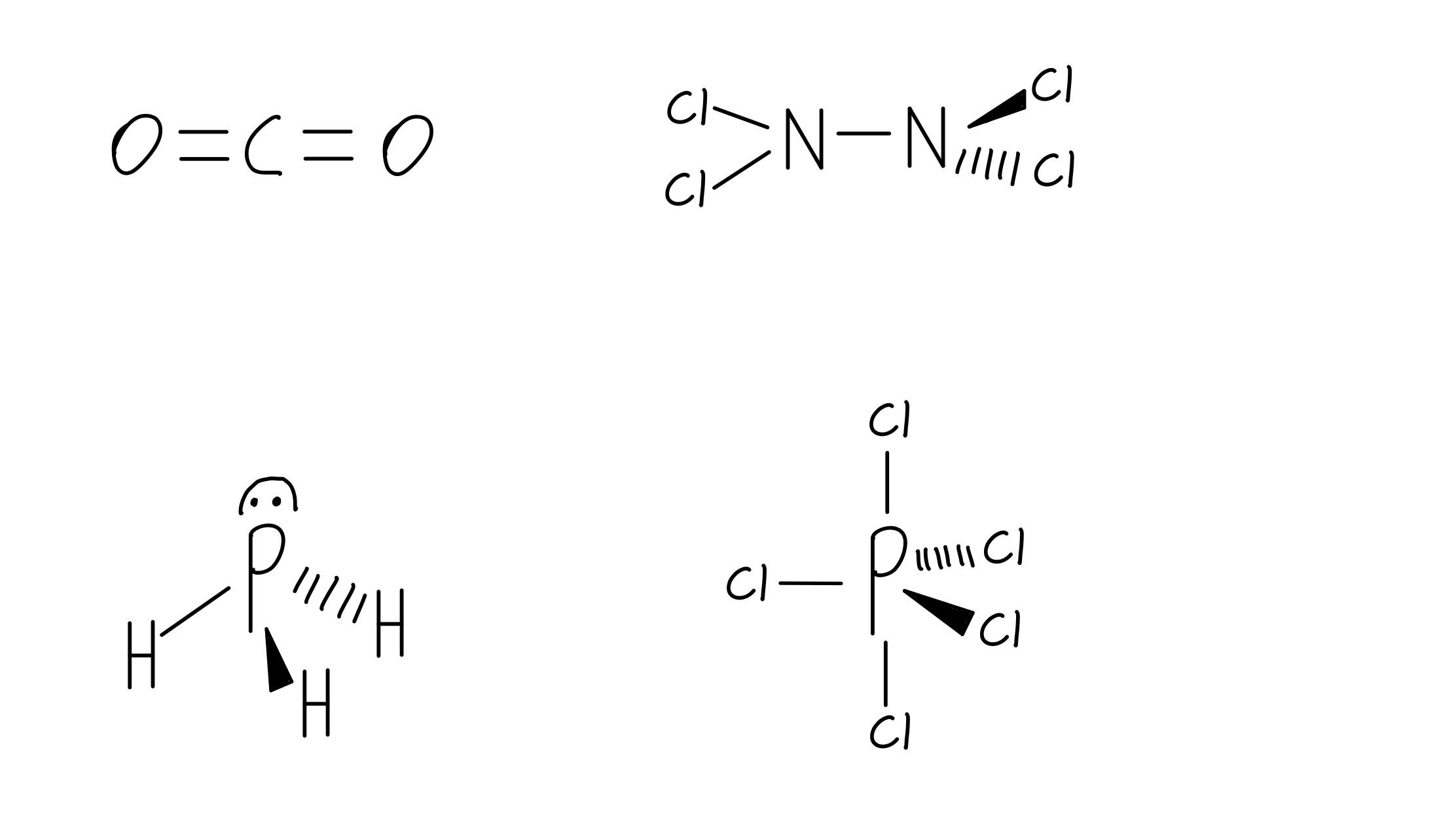 CO2­, N2Cl4, PH3, and PCl5 examples