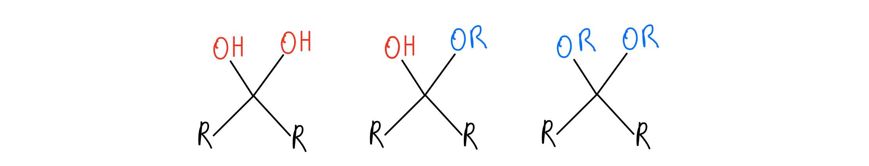 Hydrate, hemiacetal, and acetal