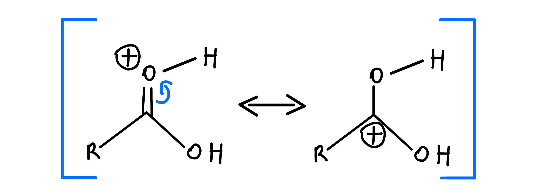 Protonated carbonyl resonance