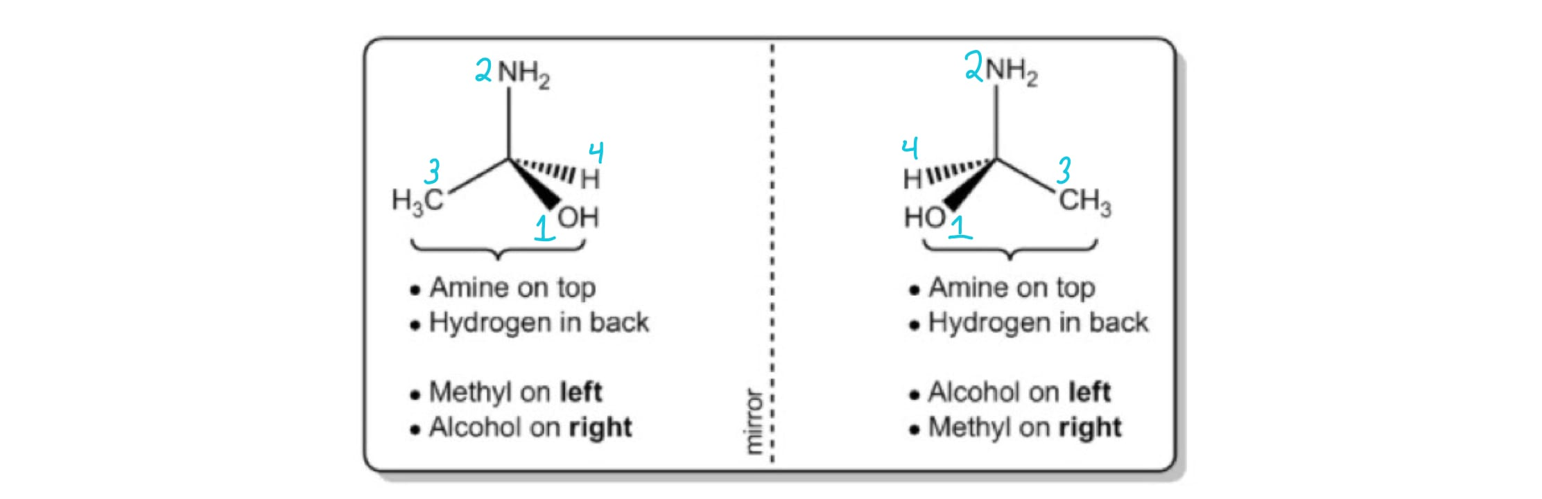 1-aminoethanol with labeled priorities