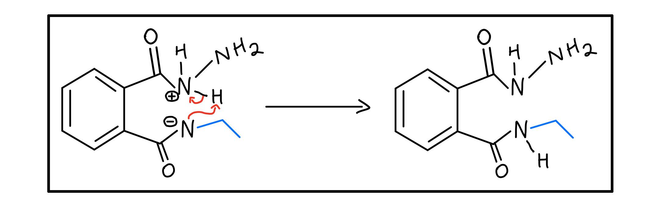 Intramolecular N-N proton transfer