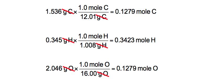 Mass-conversions-C-H-O-moles