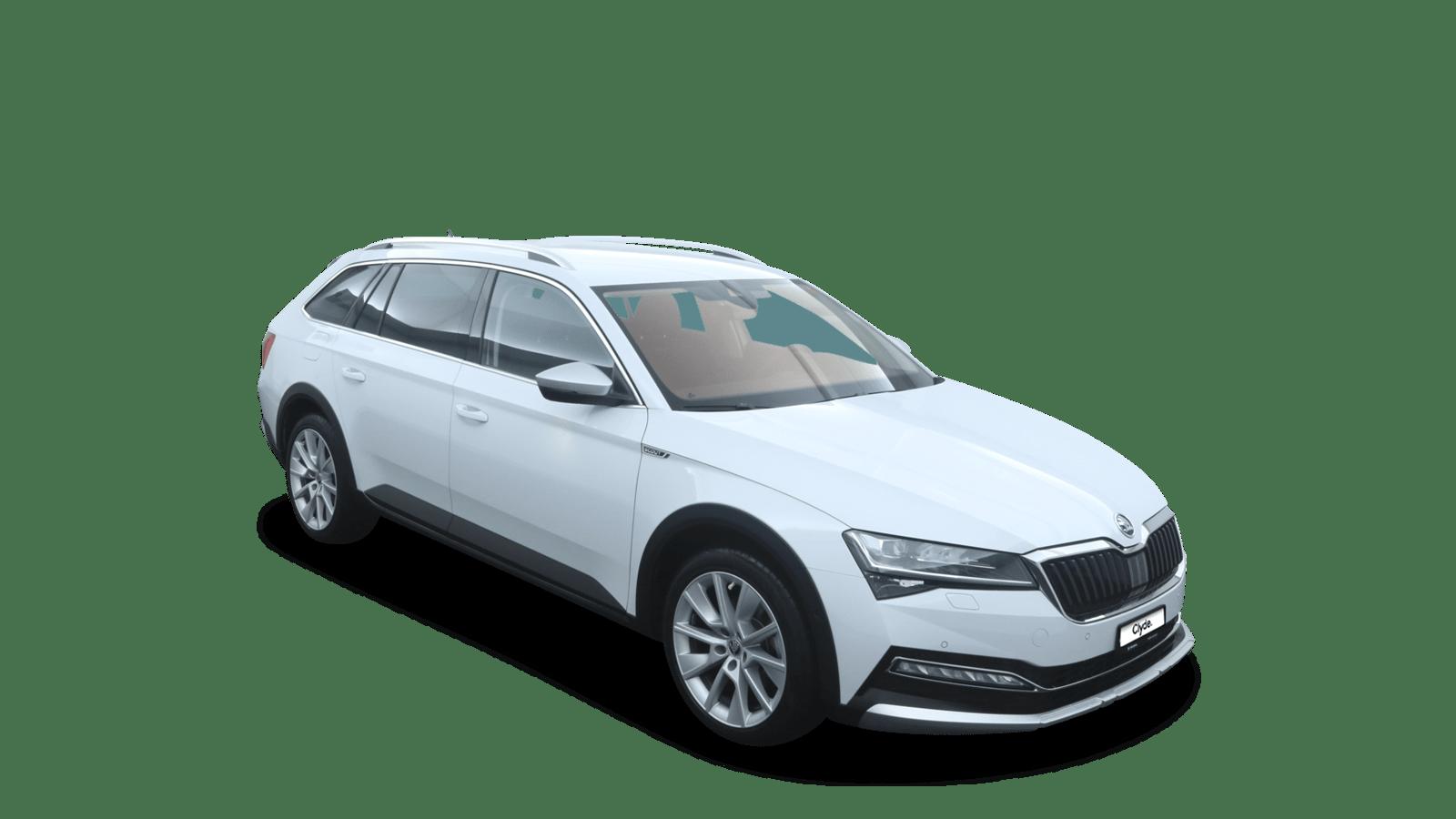 ŠKODA Superb White front - Clyde car subscription
