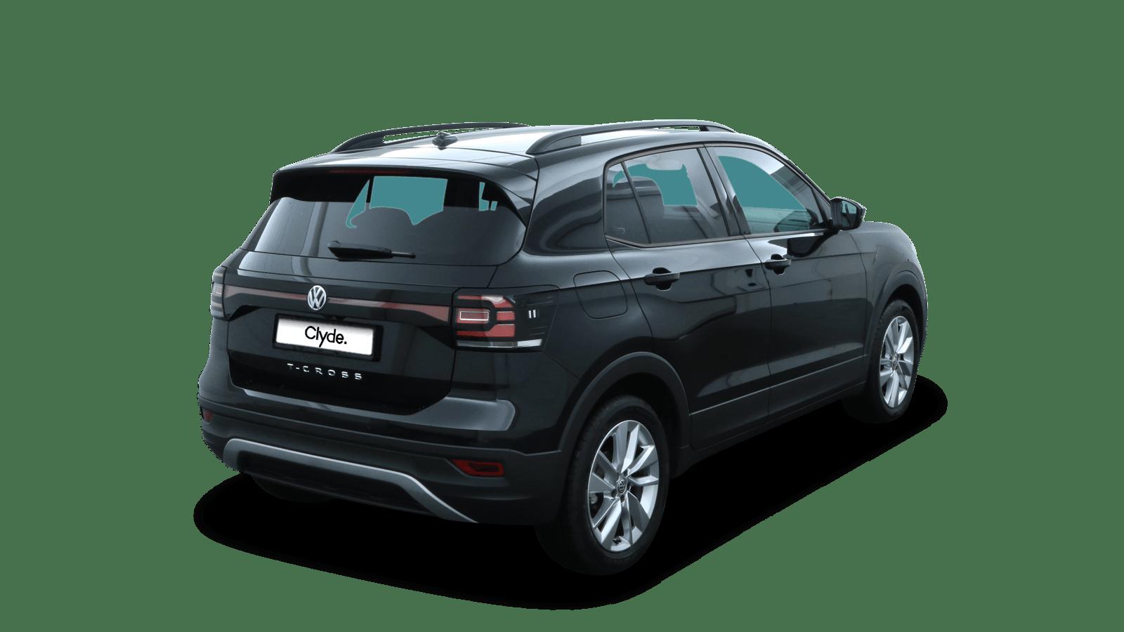 VW T-Cross Schwarz rückansicht - Clyde Auto-Abo