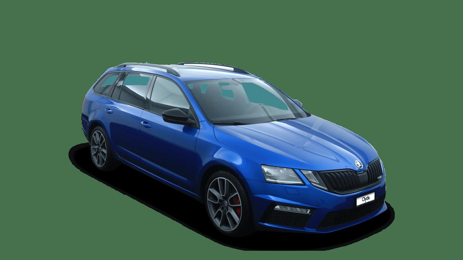 ŠKODA Octavia Combi RS Blue front - Clyde car subscription