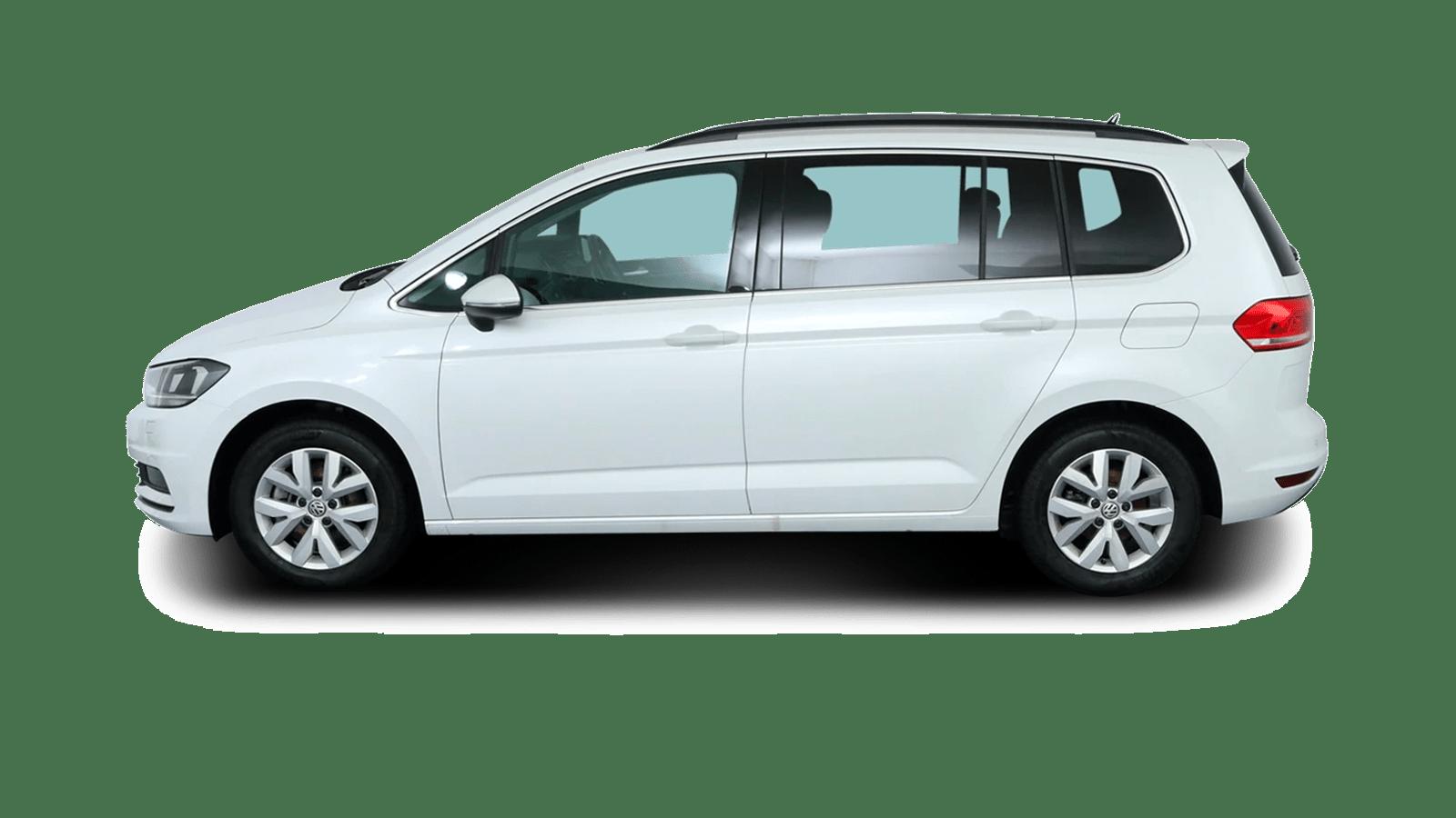 VW Touran Weiss rückansicht - Clyde Auto-Abo