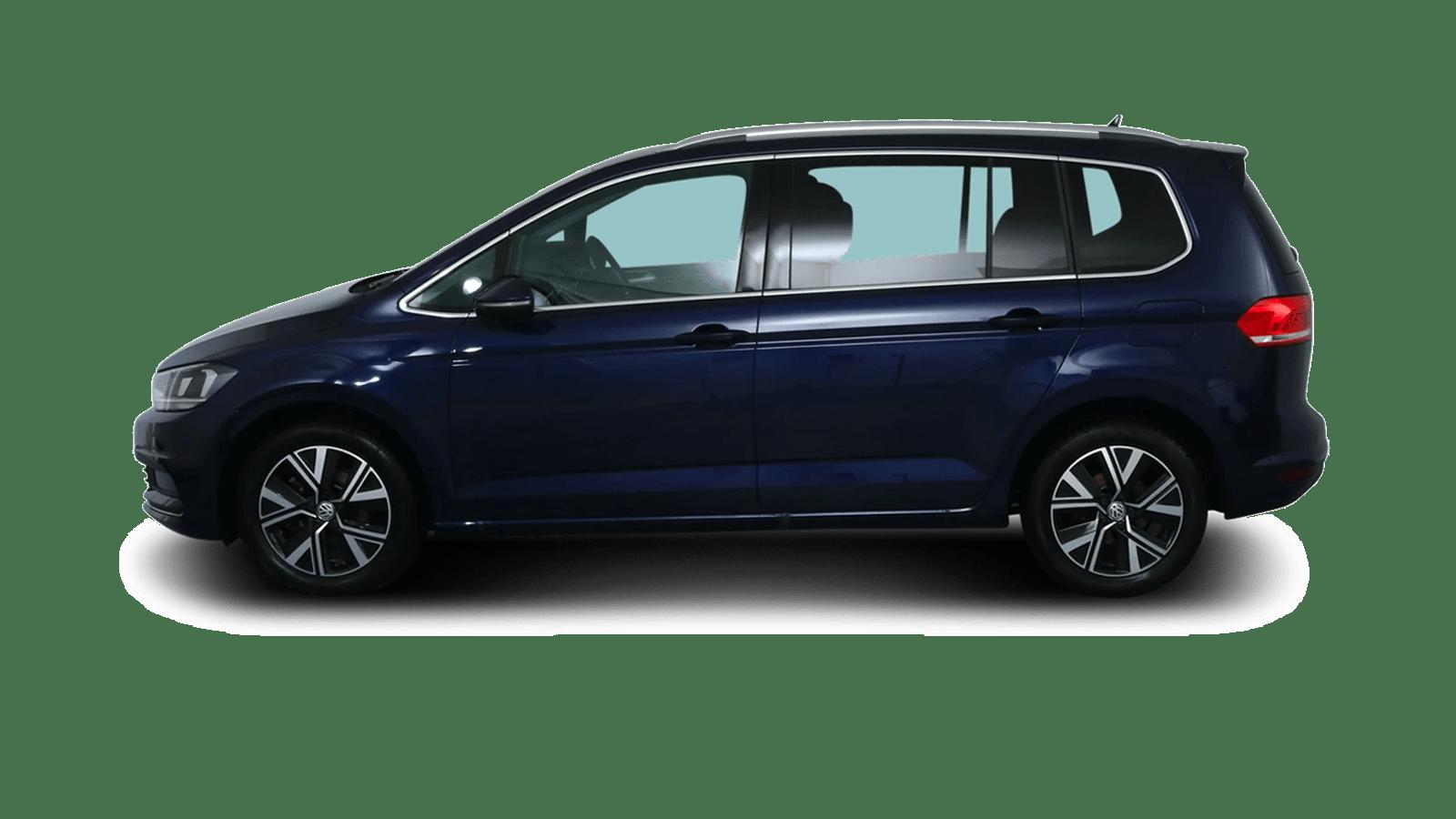 VW Touran Blau rückansicht - Clyde Auto-Abo