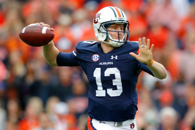 Auburn QB Sean White was rotated with Jeremy Johnson and James Franklin III in his first start of the year. (Kevin C. Cox/Getty Images)