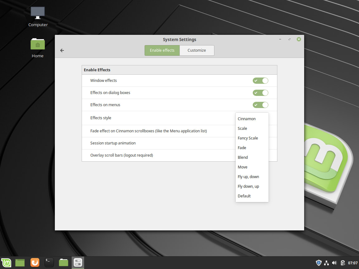 Linux Mint Review - Effects