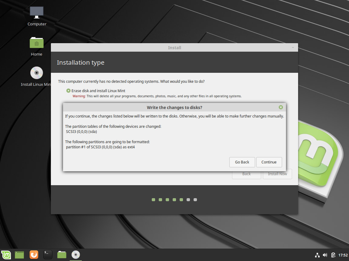 How to Install Linux Mint - Confirm Changes