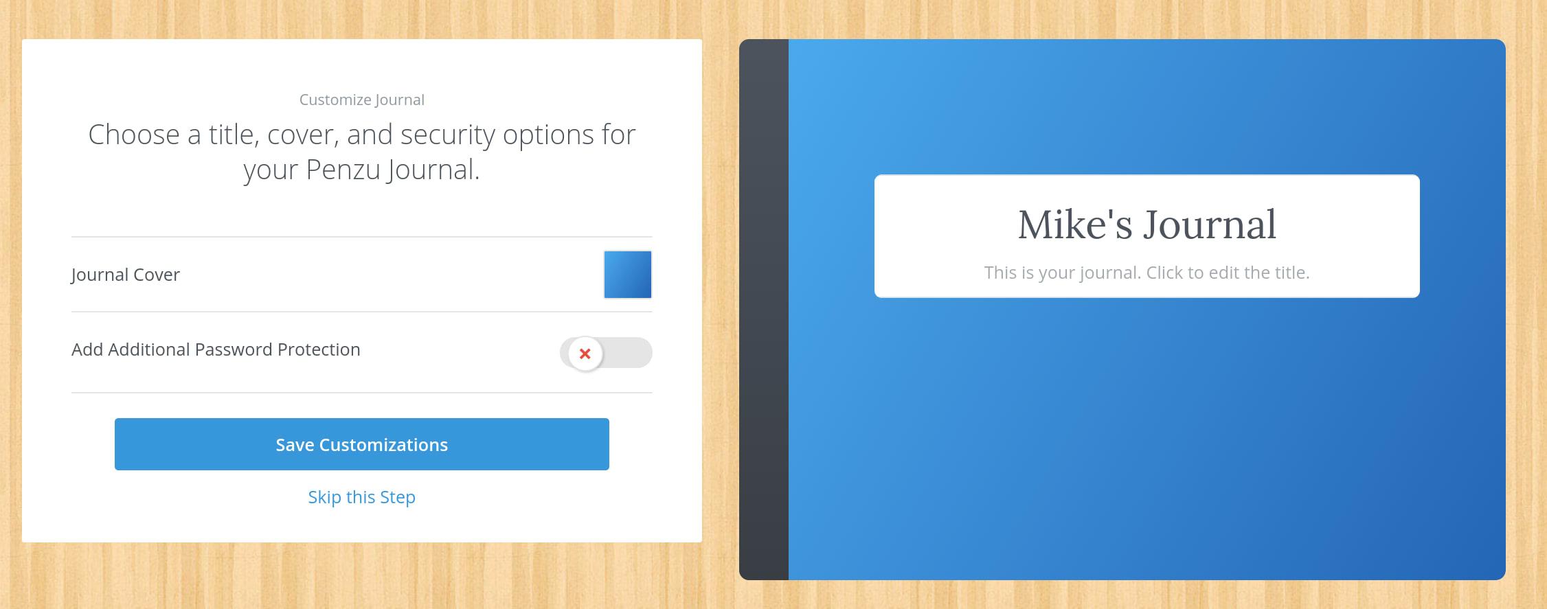 Customizing your Journal