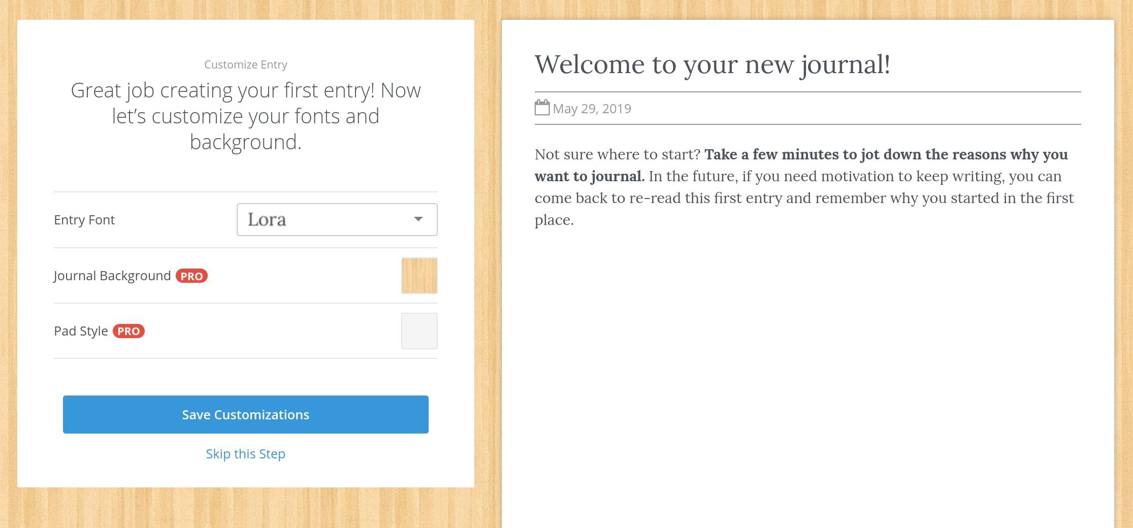 Penzu Customizing your Entries