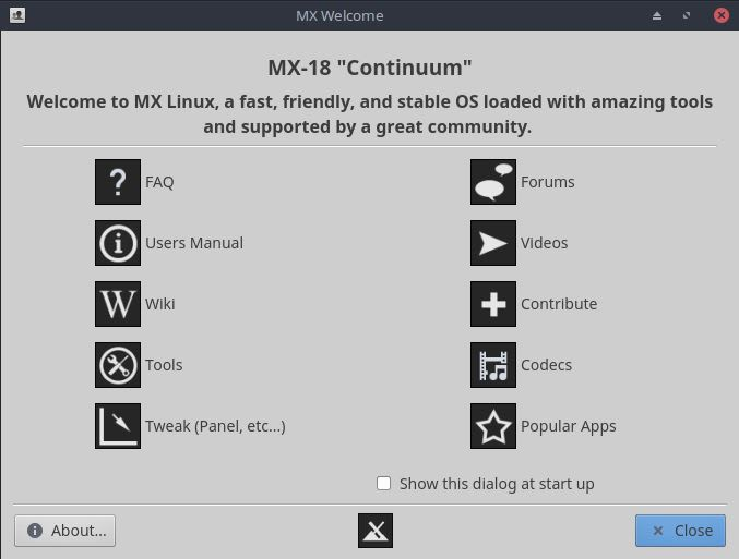 MX Linux Review - Welcome Screen