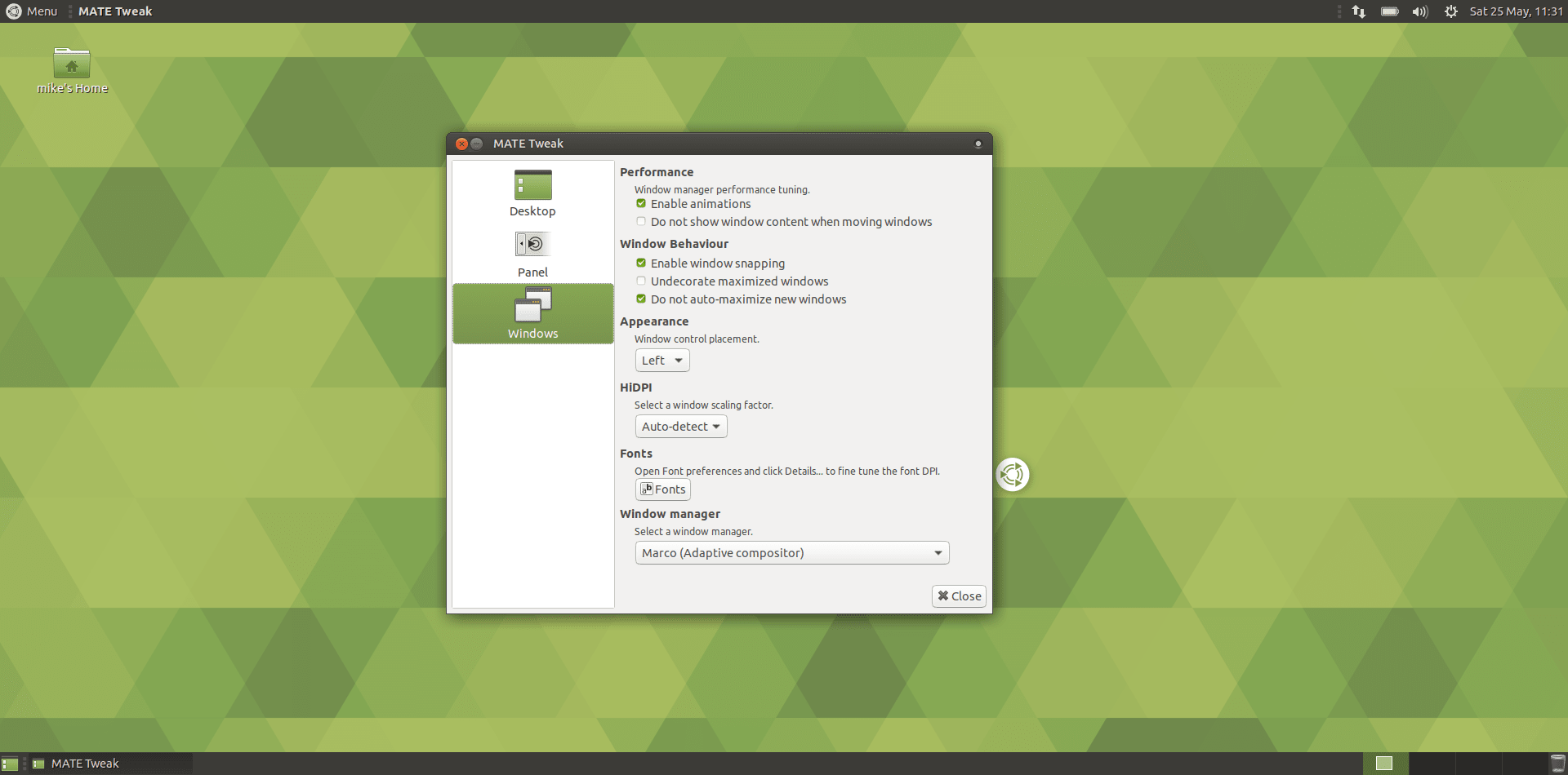 Ubuntu MATE - Window Options