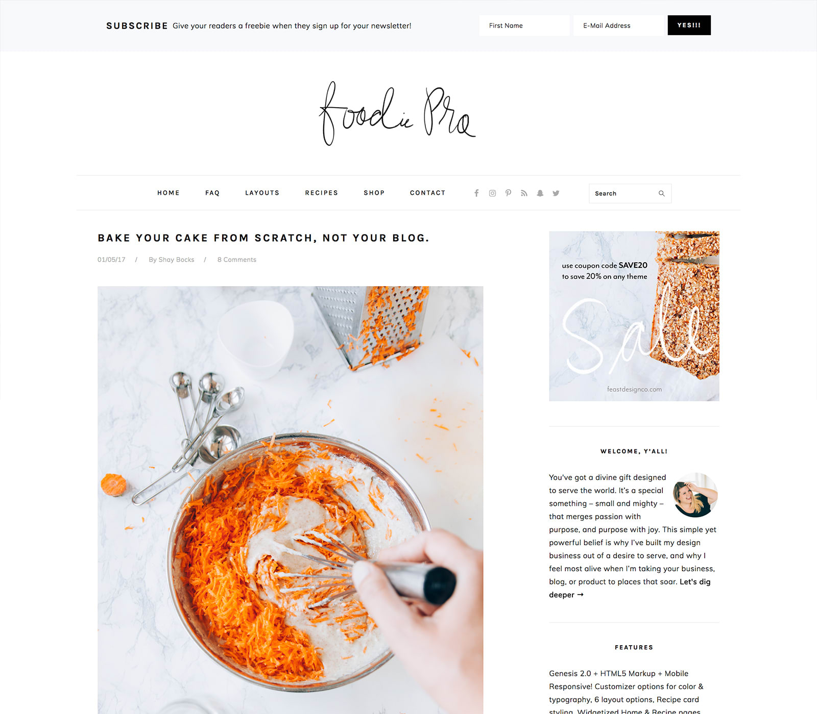 start a food blog with foodie pro