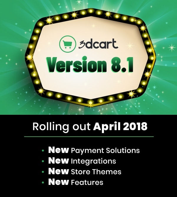 3dcart Version 8.1 Released - Brings Google Pay, Drip, and Square POS