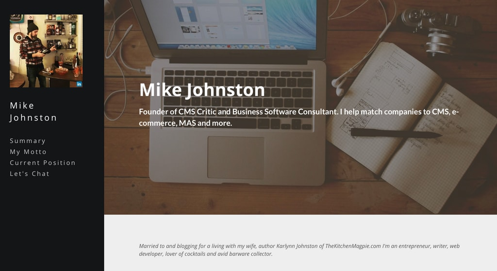 Create an instant resume website with Strikingly
