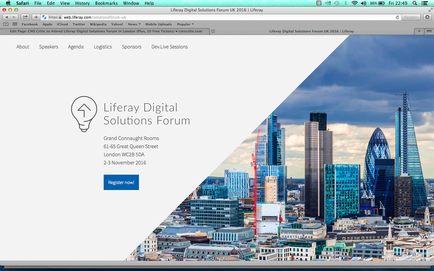 CMS Critic to Attend Liferay Digital Solutions Forum in London (Plus, 10 Free Tickets)