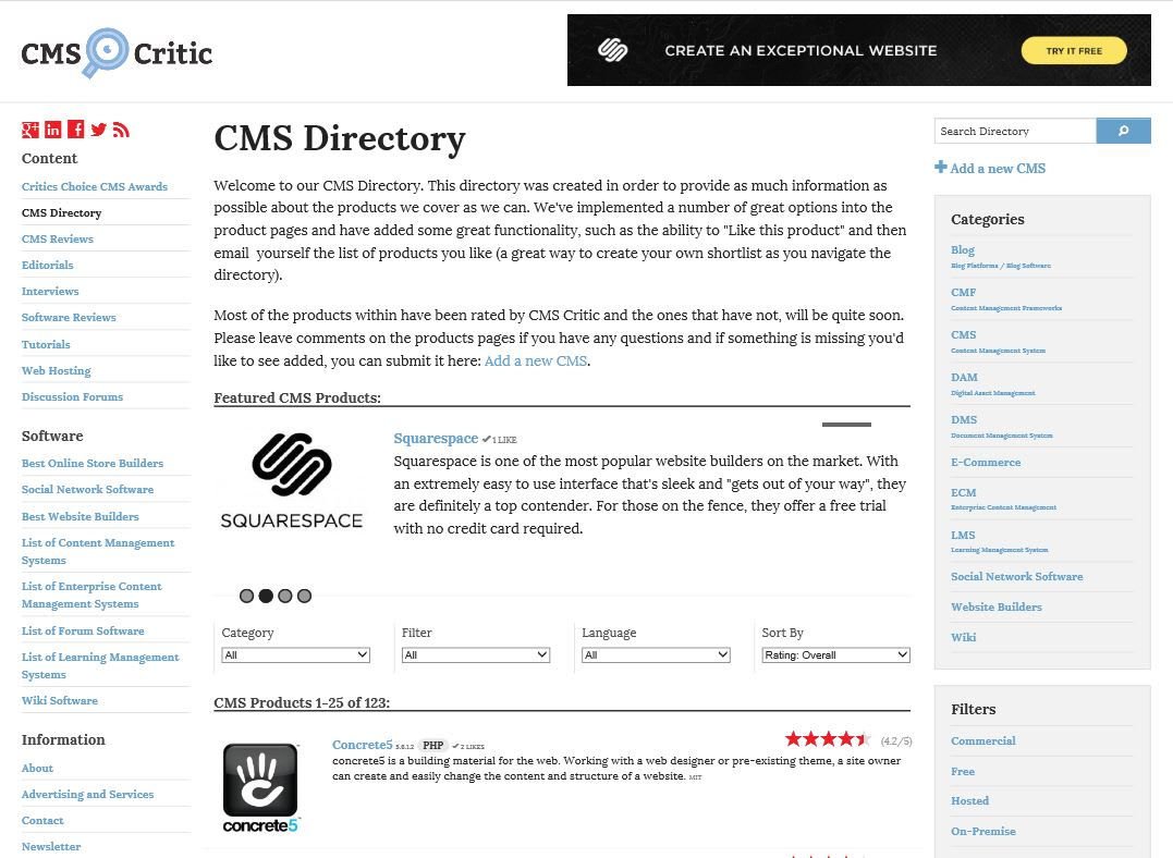 Announcing our latest addition to the site, our CMS Directory!