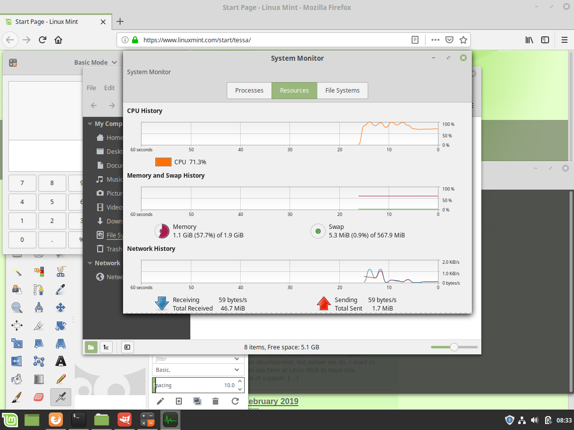 Linux Mint - System Monitor