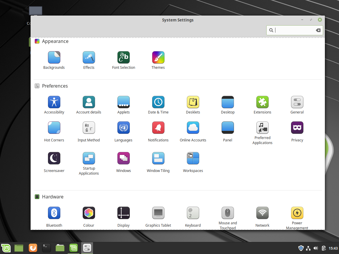 System Settings - Linux Mint