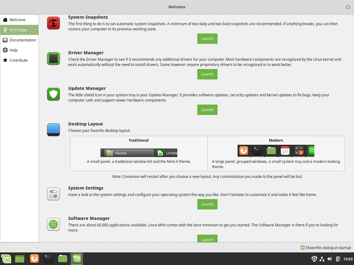 Linux Mint Review - Welcome Screen - First Steps