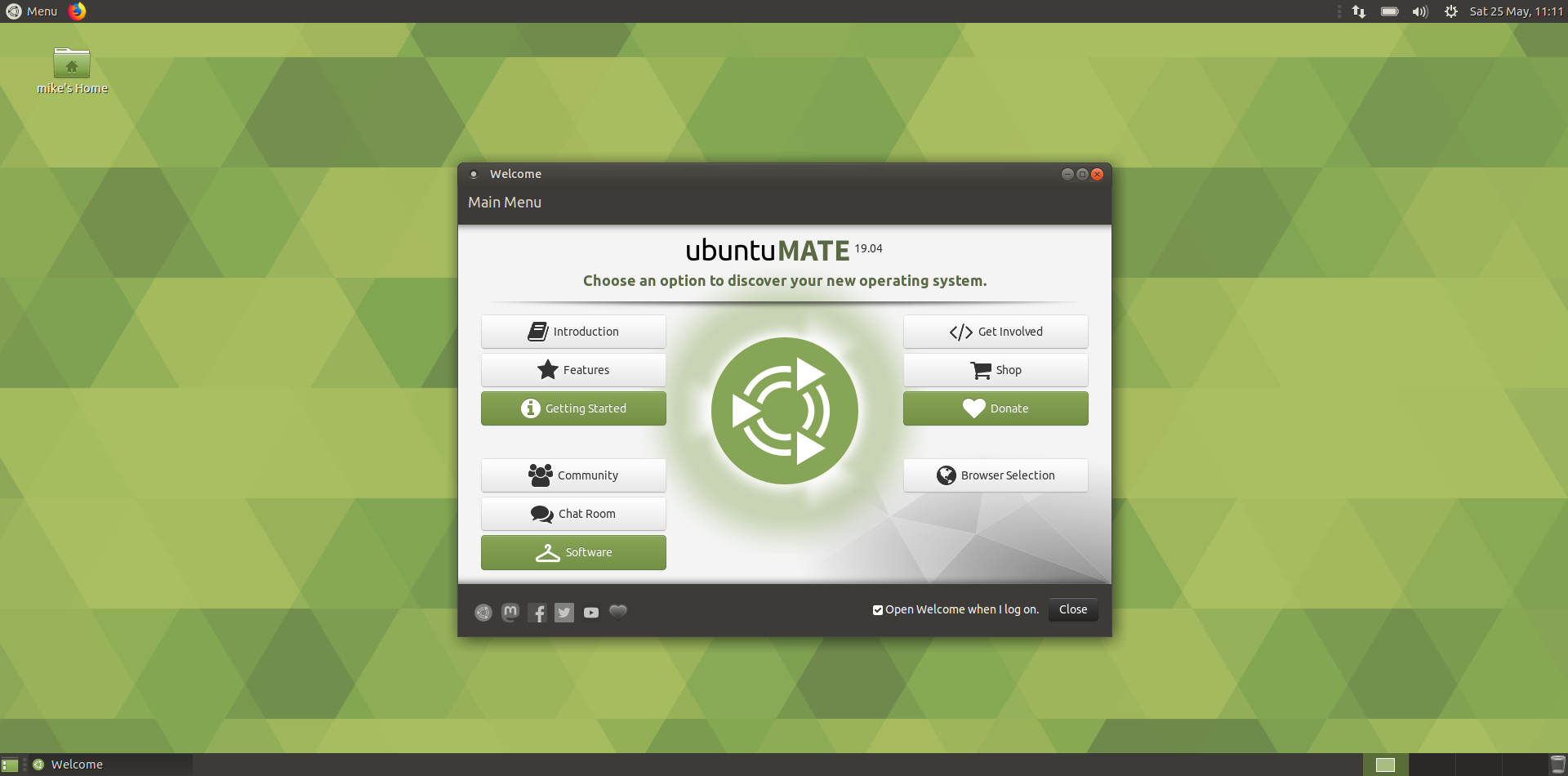 ubuntu mate - the welcome screen