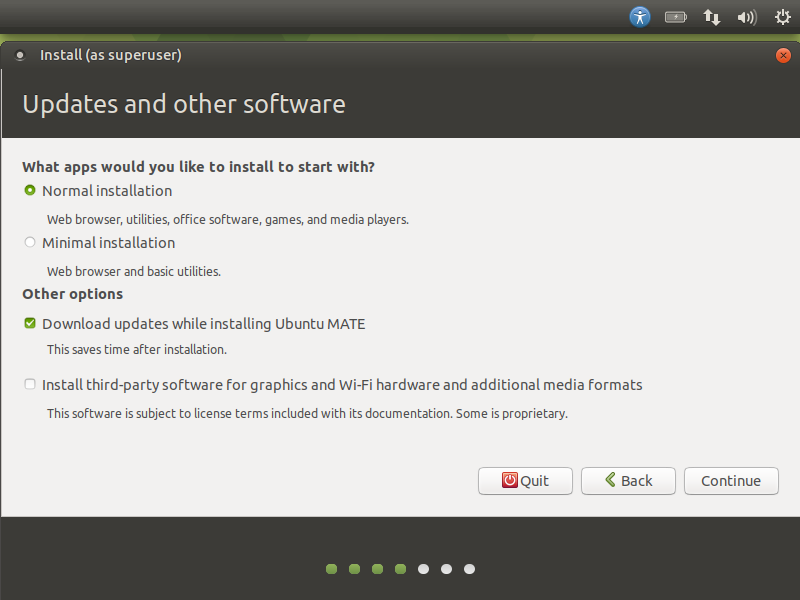 ubuntu mate review - choosing the installation type