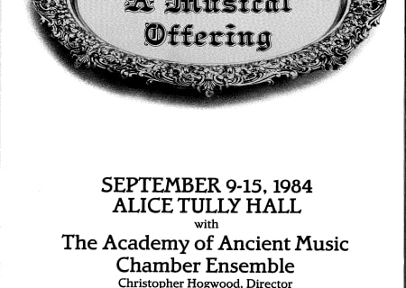 Bach: A Musical Offering, September 9-15, 1984