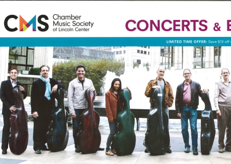 Spring at CMS Flyer featuring the Cellists of Lincoln Center, 2017