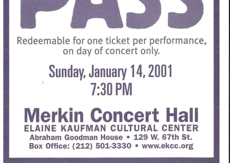 A Great Day in New York Pass: January 14, 2001